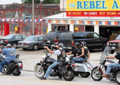Bikers riding down the strip