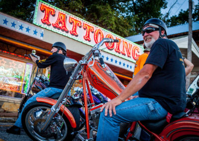 Bikers in front of Tattoo parlor